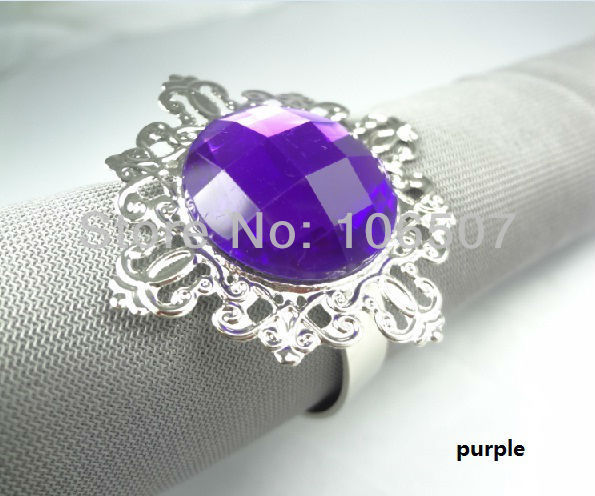 20 pcs (20 pcs=1 set)  PURPLE Gem Napkin Rings Wedding Bridal Shower Favour-FREE SHIPPING