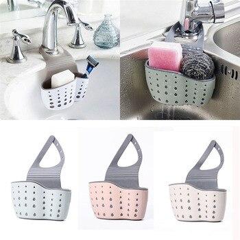 Sink Shelf Soap Sponge Drain Rack Silicone Storage Basket Bag Faucet Holder Adjustable Bathroom Holder Sink Kitchen Accessorie
