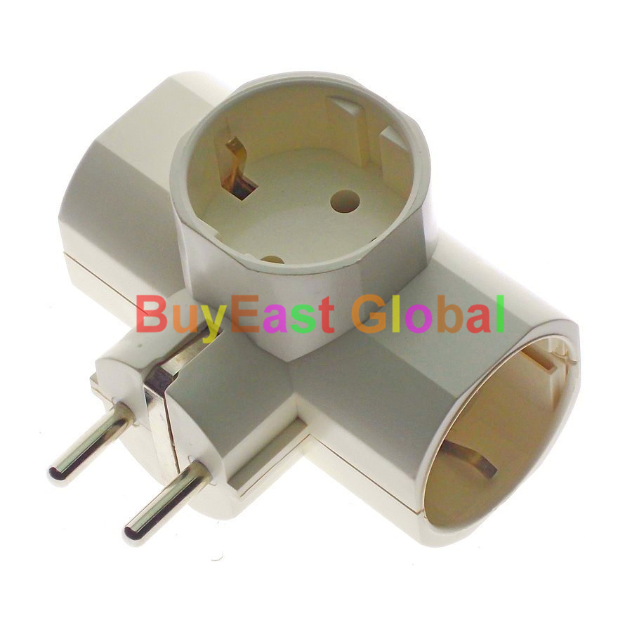 (1 PC) Schuko German Korea Russia 3 Way Extension Power Strip Plug Splitter Adapter Max 250V 16A 16a ac 250v ip54 german type cee 7 4 schuko socket adapter connector