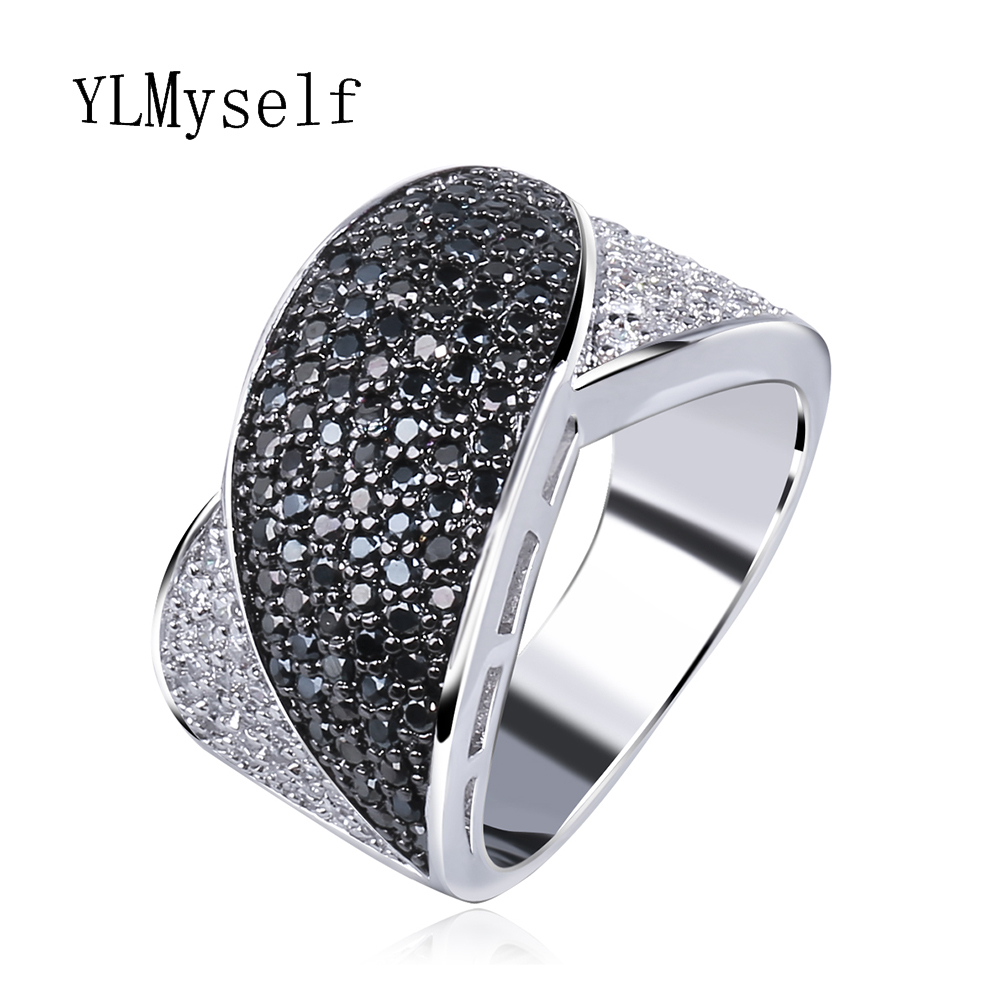 2018 Trendy Black Finger ring Hot Sale anel anillos aneis bagues femme cz crystal Stones Fashion women jewelry Wholesale lot