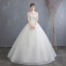 Новинка года; свадебное сексуальное платье с v-образным вырезом; рукава средней длины; белое простое кружевное бальное платье; модное платье; Estidos De Noivas CC