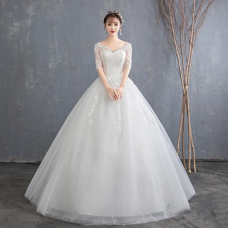 Wedding 2019 New V-neck Sexy Bride Mid Sleeves White Simple Lace Ball Gown Dress Fashion Estidos De Noivas CC