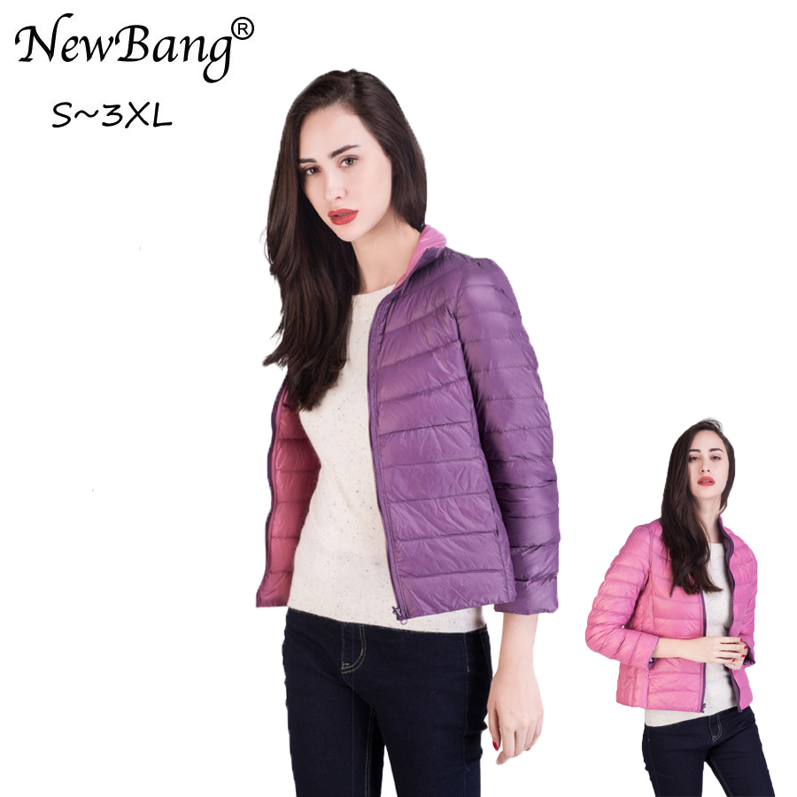 NewBang Ultra Light   Down   Jacket Women Double Side Windbreaker Reversible Women's   Down     Coat   White Duck   Down   Female Slim Warm   Coat