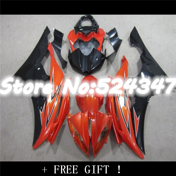 Injection YZF R6 08 09 10 11 <font><b>12</b></font> YZF-R6 Orange schwarz!! YZF <font><b>600</b></font> YZFR6 2008 2009 2010 2011 2012 YZF600 Verkleidung image