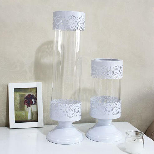wholesale free shipping white iron tall glass candle holder set wedding centerpieces stands 2pcs. Black Bedroom Furniture Sets. Home Design Ideas
