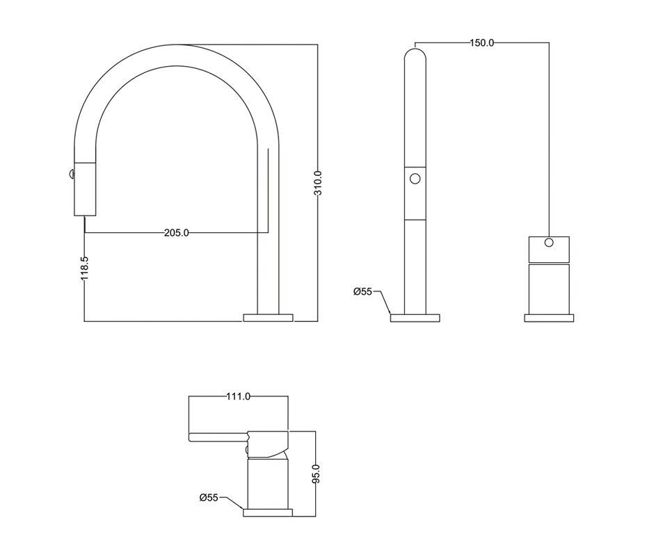 Дизайнерский смеситель с двумя отверстиями кухонный кран одной