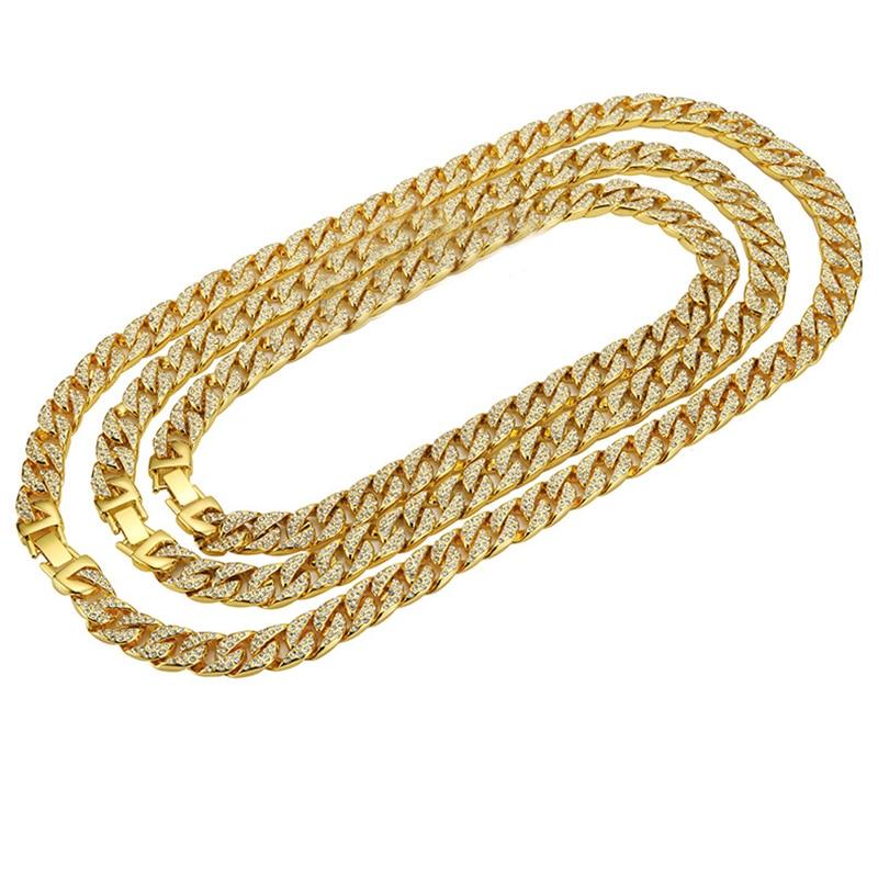 37ca5ccb2994 Collar de cadenas crudas de buena calidad, cadenas de diamantes de  imitación, cadena cubana dorada ...