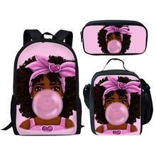 NOISYDESIGNS Children School Bags for Kids Black Girl Magic Afro Lady Printing School Bag Teenagers Shoulder Book Bag Mochila цена
