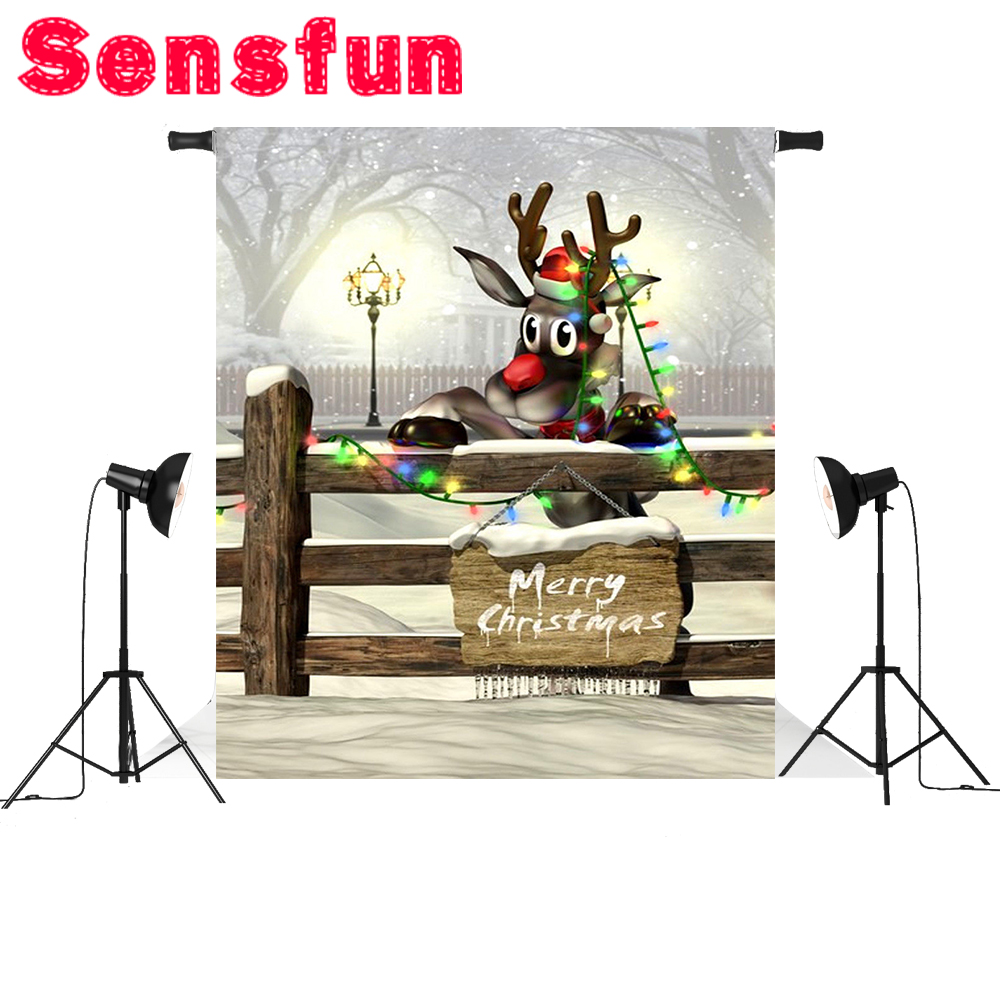 Compare prices on vinyl fence lights online shoppingbuy low cartoon deer christmas background vinyl light fence children photography backdrops for photo studio 5x7ftchina baanklon Image collections