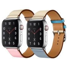 Pulseira ремешок для apple watch band iwatch band 42 мм 38 мм 44 мм 40 мм я часы correa коровья кожа ремешок для APEL watch 4