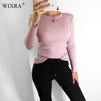 WIXRA 2018 otoño e invierno las mujeres nuevo suéter de manga larga de encaje de moda jerseys Tops sacar Jersey de punto superior suéteres