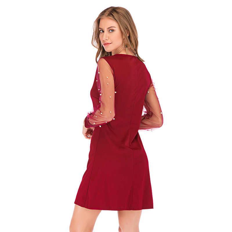 Anself mulheres vestido de outono pérolas beading sheer malha manga longa vestido feminino túnica o pescoço a linha vestidos de festa elegantes preto/vermelho