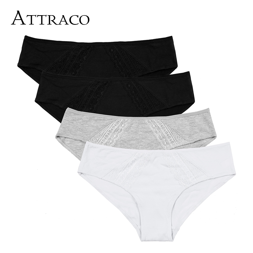 ATTRACO Women's 4 Packs Cotton Soft Underwear Stretch Hipster Ladies Panties Solid Comfort Mid Waist Breathable Hot Sale
