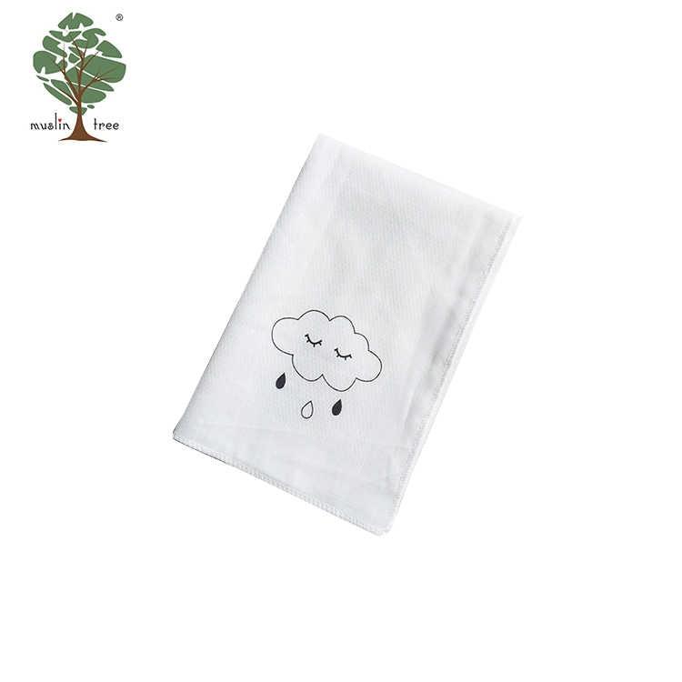 MuslinTree piazza del bambino fazzoletto bianco lovley stampa del fumetto del bambino del tovagliolo