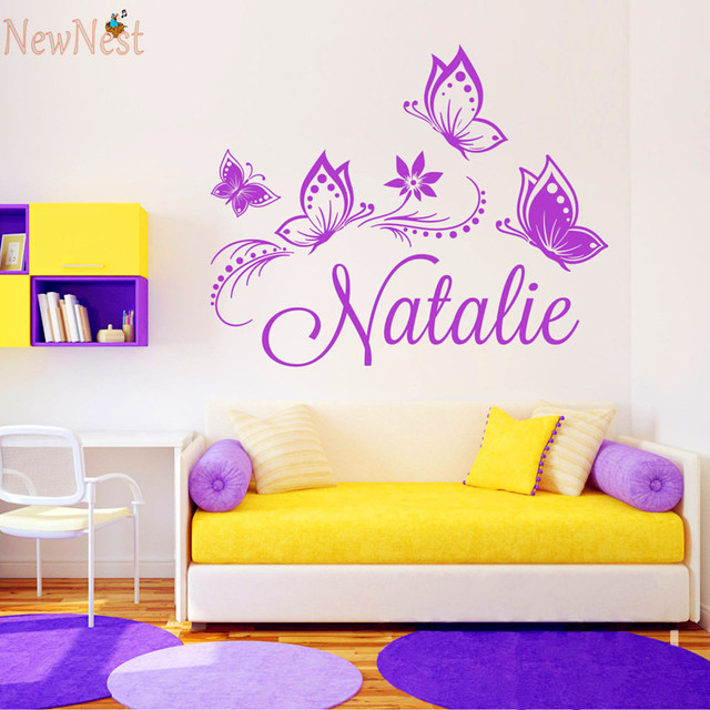 Custom Girl Name Vinyl Decal Flowers And Butterflies Wall - Custom vinyl stickers for girls