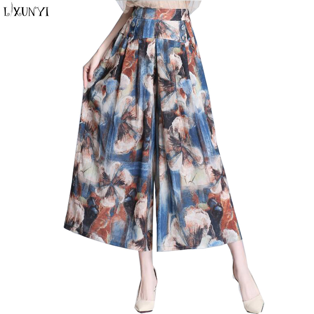 LXUNYI Bohemia Flower Printed Ladies   Capri     Pants   Women High Waist 2019 Spring Summer New Wide leg Loose Chiffon   Pants   Culotte