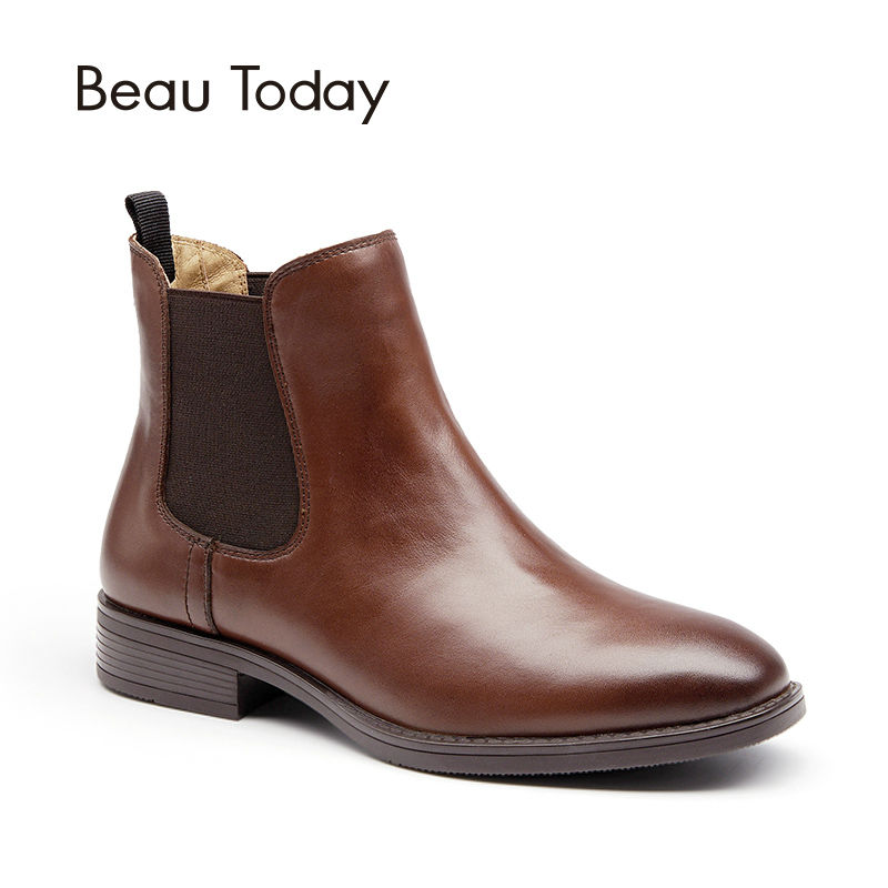 BeauToday Chelsea Boots for Women Genuine Leather Fashion Square Toe Elastic Ankle Length Calfskin Shoes with Box 03025 elastic band women genuine leather ankle boots chelsea hand made shoes motorcycle coincise fashion black matte women s boots