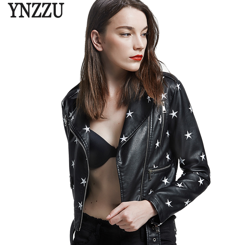 YNZZU New Design 2018 Autumn Women   Leather   Jacket Coat Chic Star Embroidery Long Sleeve PU Short Motor   Leather   Jacket YO561