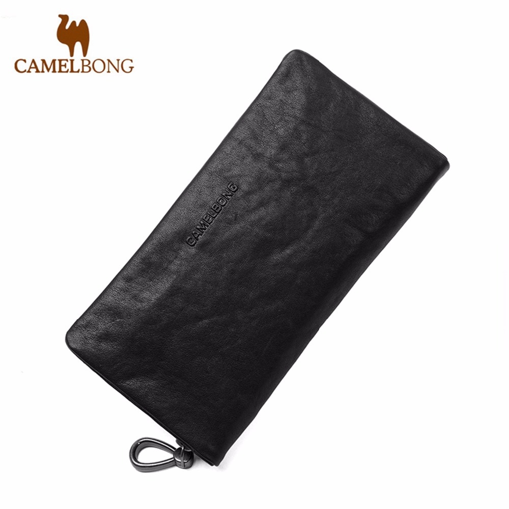 ФОТО FINKRS 2016 Brand Designer Top Cowhide Leather Men's Long Wallet Clutch Wrist Bag Black Wallets and Purses Card Holder