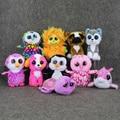Cute New Animals Beanie Boos Big Eyes Plush Toys Dolls Husky Dog Lion Cat Owl dolphin Penguin Monkey Baby Kids Gifts Doll 15 cm