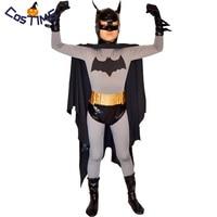 Kids Batman Costume Deluxe Classic Batman Full Body Tight Suit with Cape Masked Superhero Halloween Costume for Children Custom