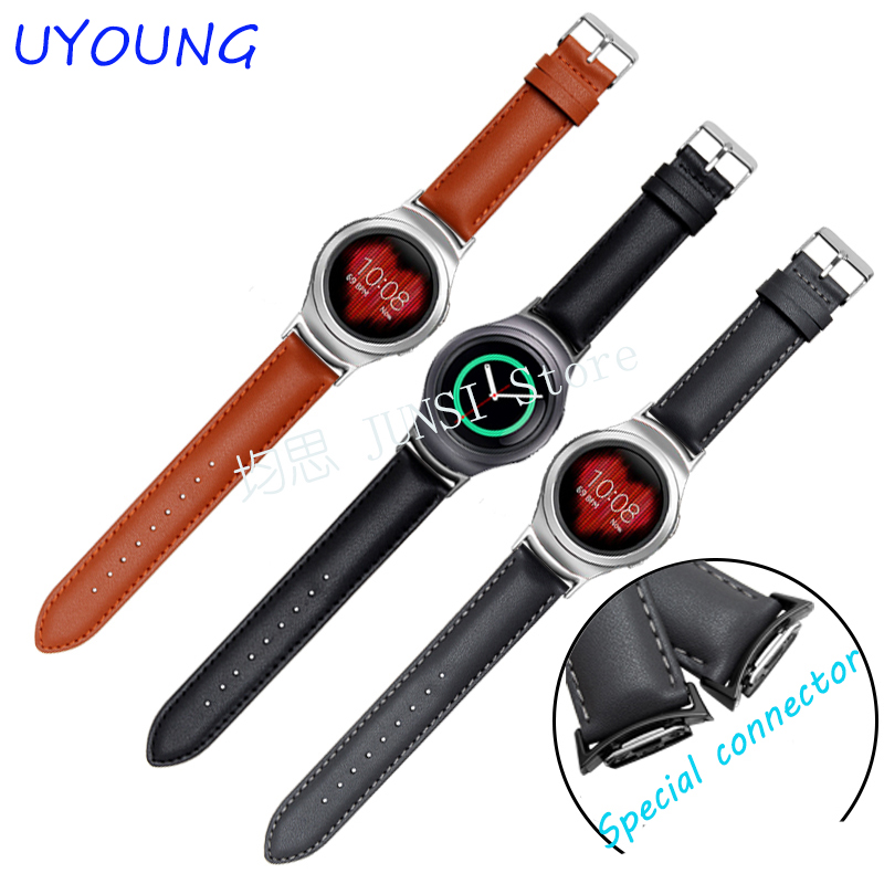 Quality Genuine Leather watchband For Samsung Gear S2 R720 Smart watch strap 20mm Free tools wireless cradle charger for samsung gear s2 classic smart watch