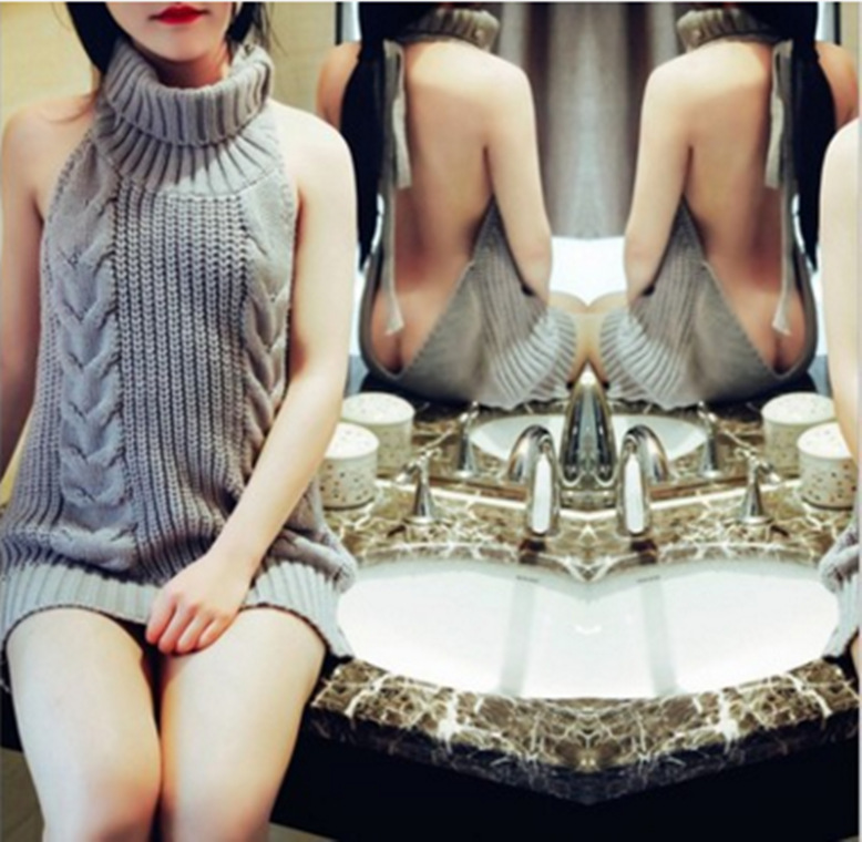 Women's Turtleneck Sleeveless Sweater Summer Virgin Killer Pullovers Japanes Knitted Sexy Backless Women Sweaters