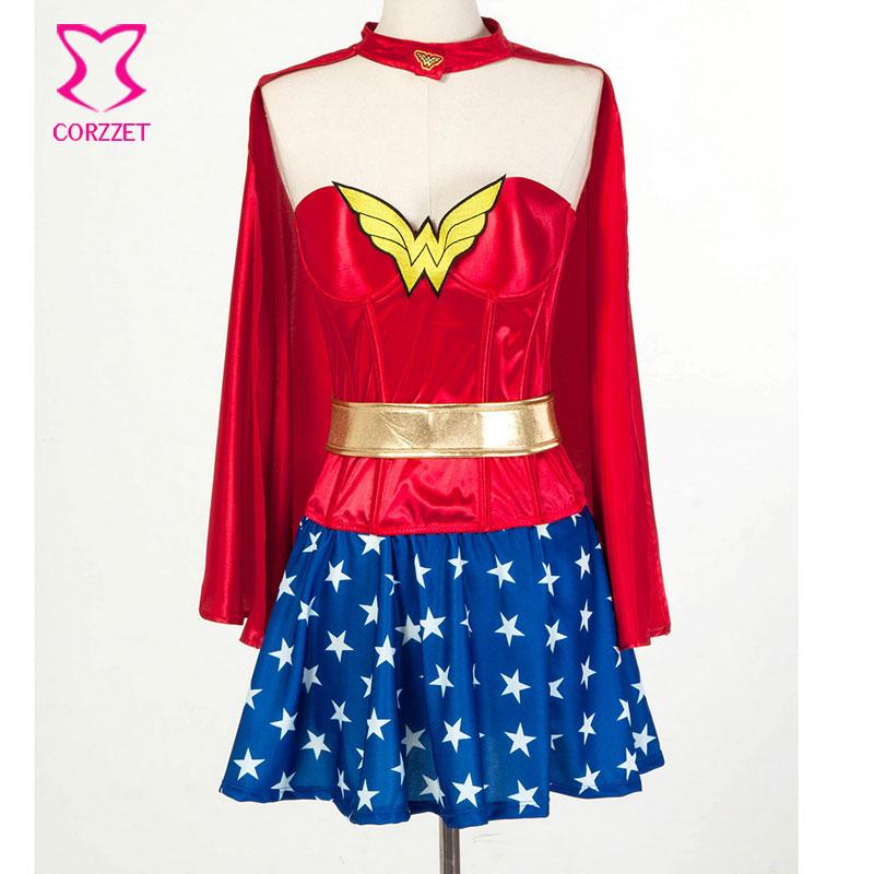 a2c48ba8a Superhero Supergirl Halloween Burlesque Espartilho Vestido Com Capa Mulher  Maravilha Cosplay Carnaval Costume Sexy Fantasias para Adultos em Fantasias  ...