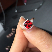 Low Price Wholesale 925 Sterling Silver Jewelry Natural Mozambique Garnet Ring Rose Gold Color Prong Set January BirthdayStone