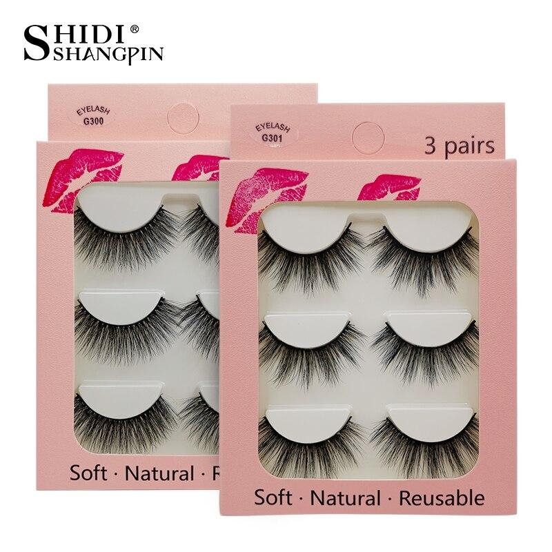 SHIDISHANGPIN 3 Pairs Eyelashes Thick Mink Eyelashes Natural Makeup 3d Mink Lashes Fluffy False Eyelashes Maquiagem Cilios