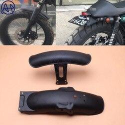 1 conjunto de metal preto da motocicleta traseira & frente fender paralama capa protector apto para cg125 modificação retro