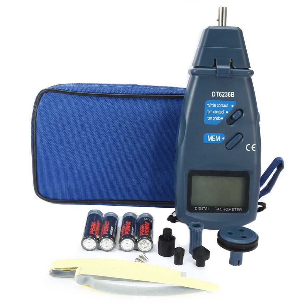 2in1 Digital Tachometer Contact//Non-Contact Photo Tachometer 2.5 to 99,999 RPM