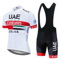 2019 equipo UAE Ciclismo Jerseys Ropa de Ciclismo Ropa de secado rápido babero gel conjuntos Ropa Ciclismo uniformes Maillot deporte desgaste