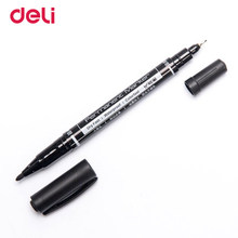 Deli 3pcs colored dual tip fast dry permanent oil marker pens for fabric tires quality waterproof fine point sharpie for drawing(China)