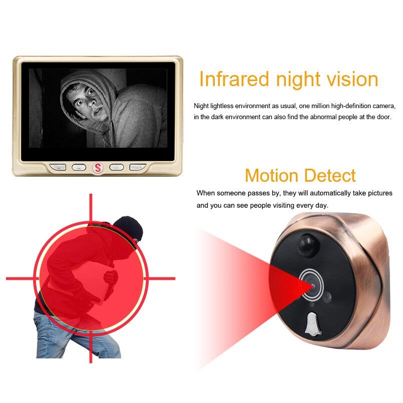 Saful judas numérique caméra vidéo porte cloche vidéo-oeil avec carte TF prenant Photo porte judas visionneuse moniteur pour la maison - 3