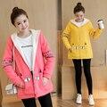 Plus Velvet Autumn/winter Maternity Sweater Fleece Maternity Hoodies Pregnancy Fleece Jacket Outerwear Maternity Clothing B415