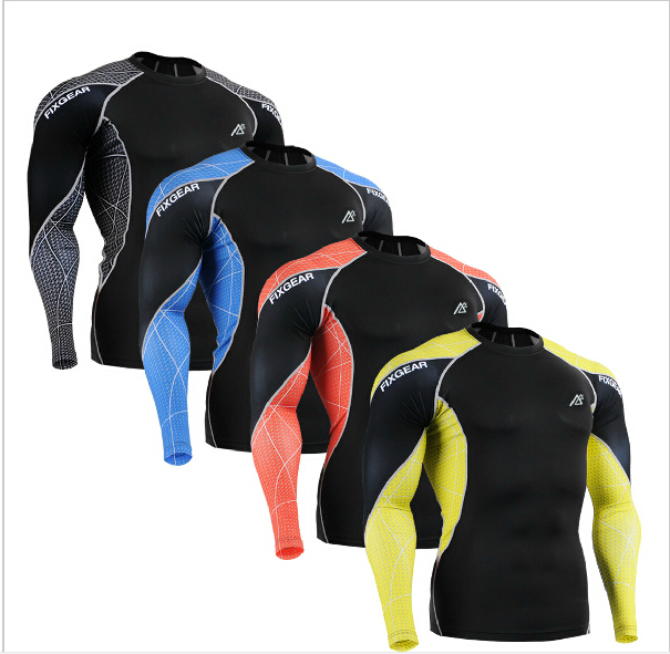 Men s font b Fitness b font Shirts Running Training Compression Skin Tights Long Sleeve Breathable