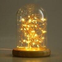 Firework USB LED Light Glass Cover Table Night Lamp Wood Base Bedside Night Light Low Energy