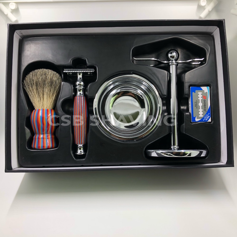 CSB Pure Badger Hair Shaving Brush Gift Set Knot 20mm with 10 BladesCSB Pure Badger Hair Shaving Brush Gift Set Knot 20mm with 10 Blades