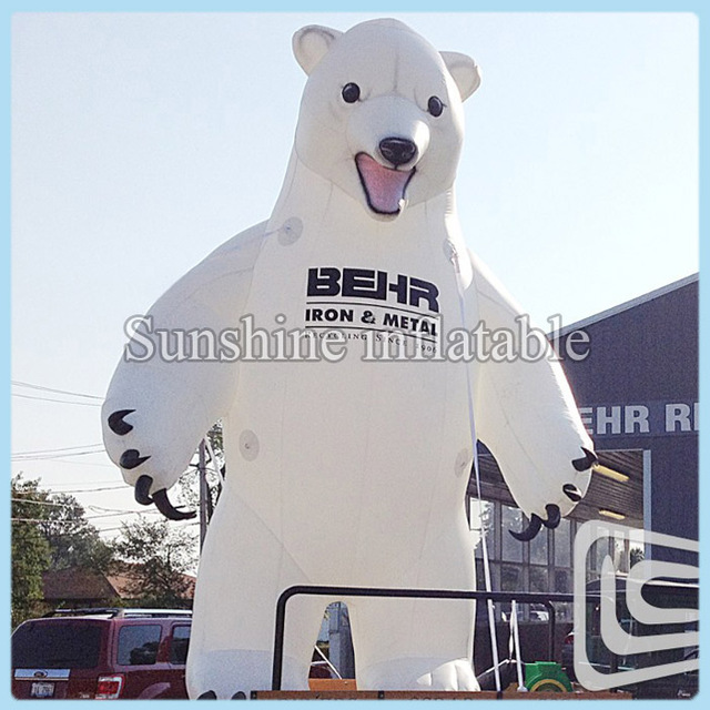 Free shipping 20ft white giant inflatable polar bear with blower sale