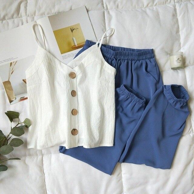 Cotton Linen V-neck Camisole Summer Women Vintage Buttons Cotton Linen Tops Sleeveless Crop Tops 1