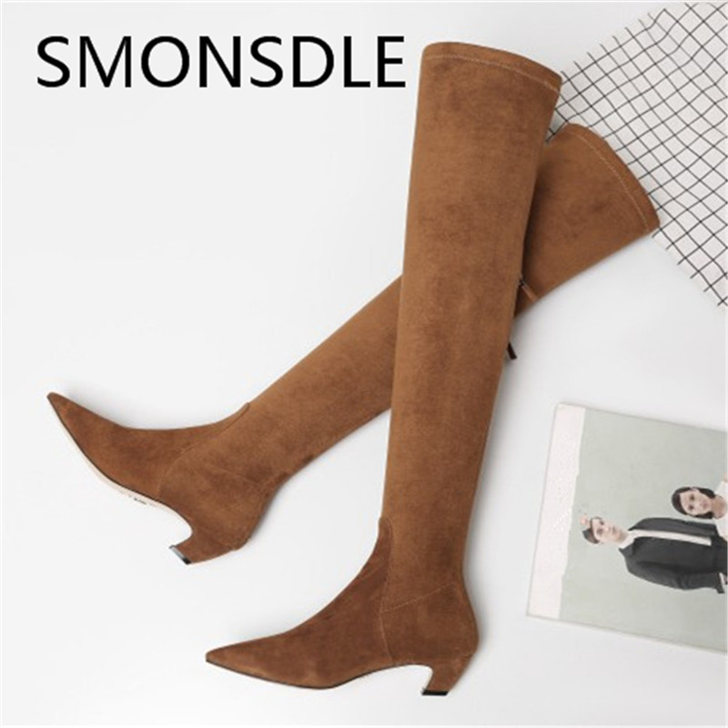 SMONSDLE New Fashion Black Brown Suede Women Over the Knee Boots Pointed Toe Back Zip Women Autumn Winter Boot Shoes Woman