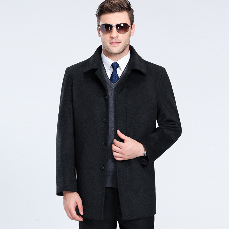 4xl Large Size Men Wool Coat Thickening Woolen Coat Autumn Winter Hombre Peacoat Winter Coat Holyrising(China)
