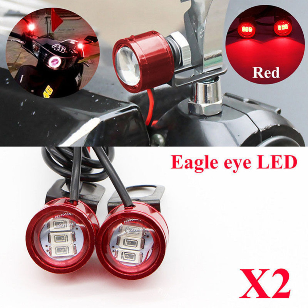 2PCS DC 12V Motorcycle Rearview Mirror Eagle Eye 3 LED Flash Strobe Lights DRL Red New