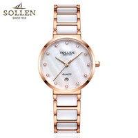 Императивом модный топ Элитный бренд Для женщин кварцевые часы леди отлично жемчужиной Керамика браслет Часы Для женщин со стразами платье