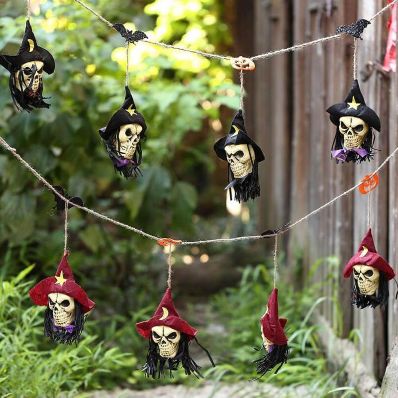 1 PC New Witch Skull Skeleton String Light Pumpkin Halloween Holiday Decoration Party KTV Bar Club layout Hanging Ornaments 3