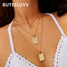 BUTEELUVV Vintage Multi Layered Chain Necklace for Women Delicate Religious Cross Rose Flower Pendant Necklace Fashion Jewelry fashion cross pendant multi layered decussate body chain for women