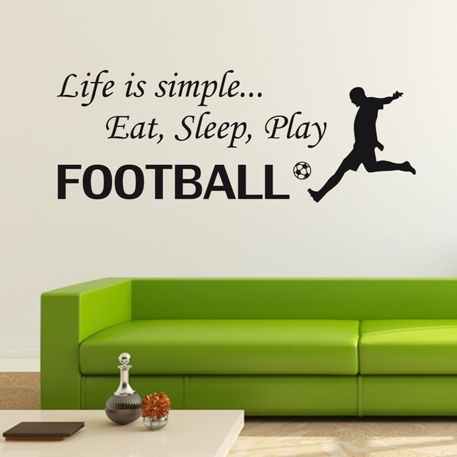 Football Sticker Kids Quote Wall Decals Life Is Simple Eat Sleep Paly Football  Wall Sticker Decal