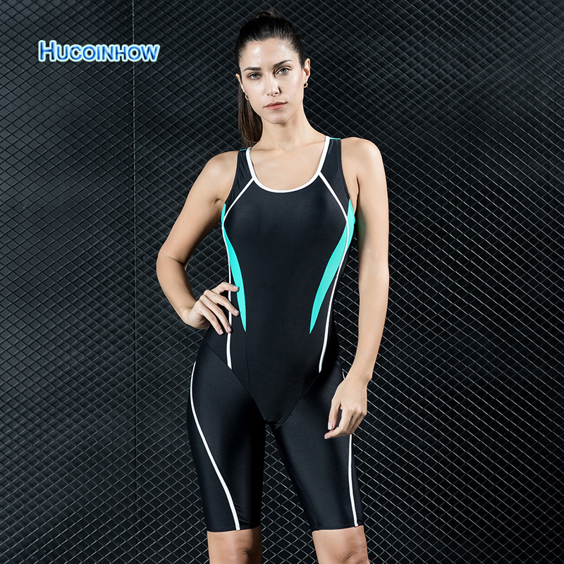 все цены на HUCOINHOW Professional Knee Length Racing Swimsuit Women Triathlon Swim Suit European Popular Swimwear Female