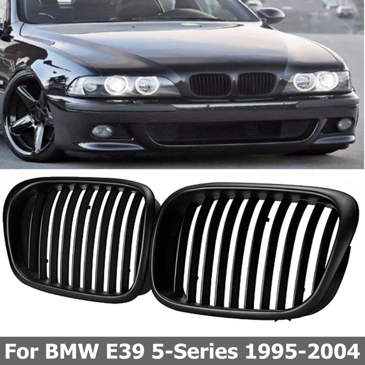 2 Pcs OEM Style De Voiture Avant Noir Large Calandre Grill pour BMW E39 5 série 1997 1998 1999 2000 2001 2002 2003